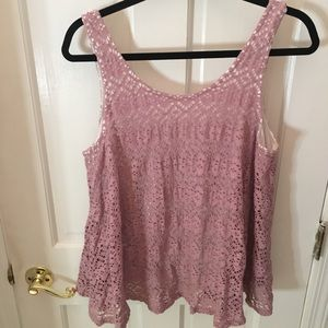 Purple lined crocheted flowy tank